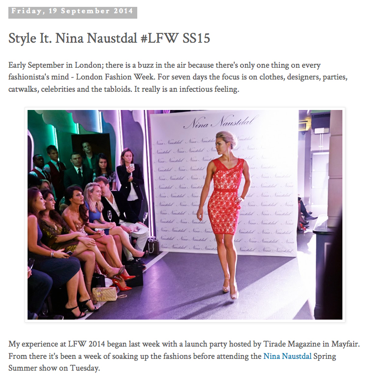 Modeling for Nina Naustdal Couture, London Fashion Week 2014